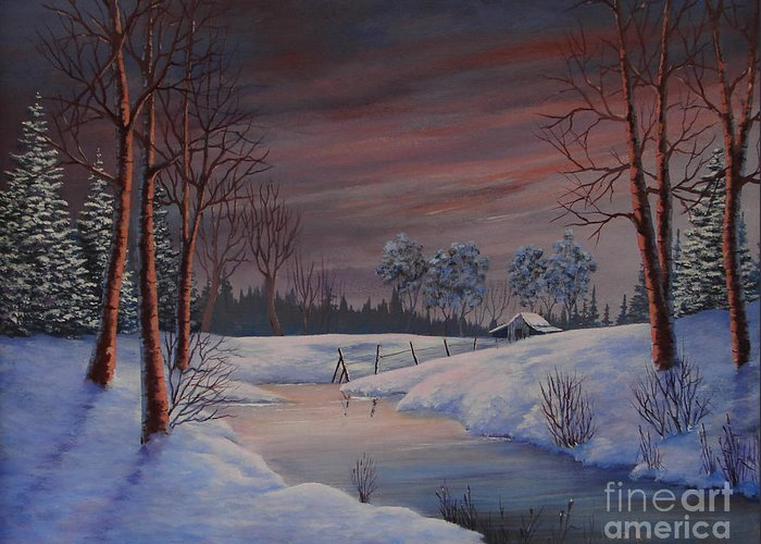 Landscape Greeting Card featuring the painting Winter Evening by Jerry Walker