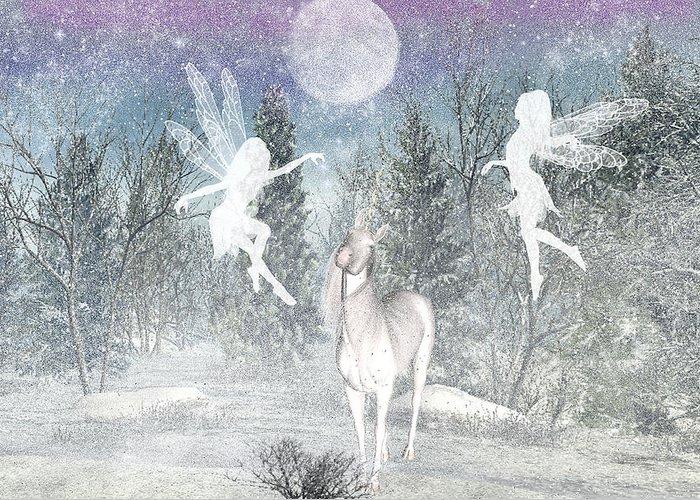 Winter Fairy Magic Fairies Greeting Card featuring the digital art Winter Fairy Magic by Lisa Roy