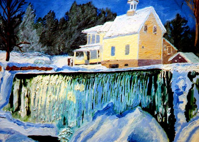 Waterfalls Greeting Card featuring the painting Winter Falls by Stan Hamilton