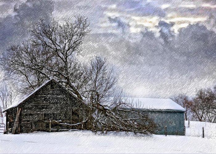 Winter Greeting Card featuring the photograph Winter Farm by Steve Harrington