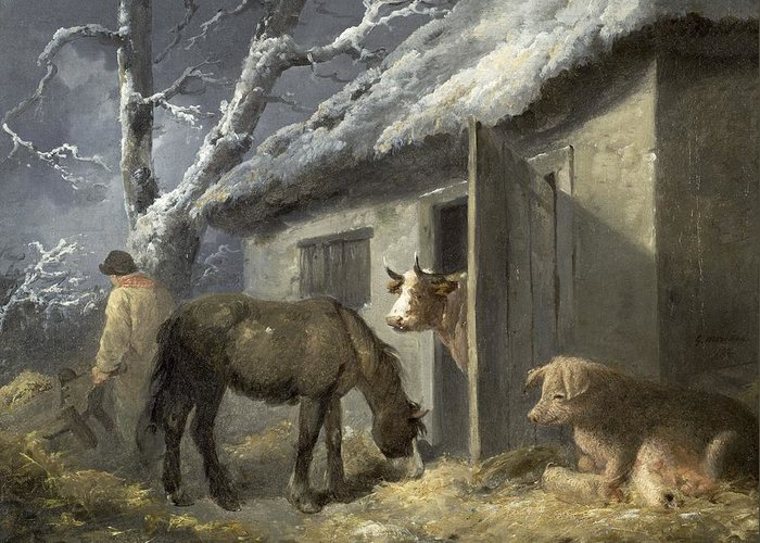 Winter Greeting Card featuring the painting Winter Farmyard by George Morland