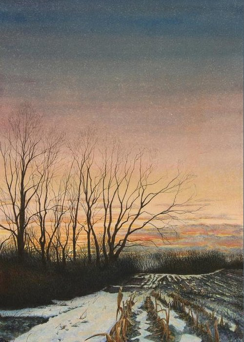 Landscape Greeting Card featuring the painting Winter Field by Stephen Bluto