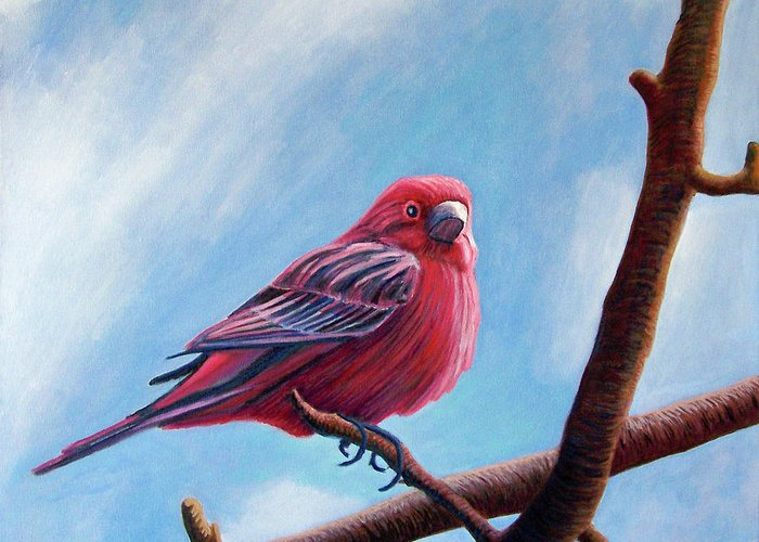 Bird Greeting Card featuring the painting Winter Finch by Brian Commerford