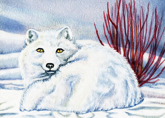 Winter Greeting Card featuring the painting Winter Fox by Antony Galbraith