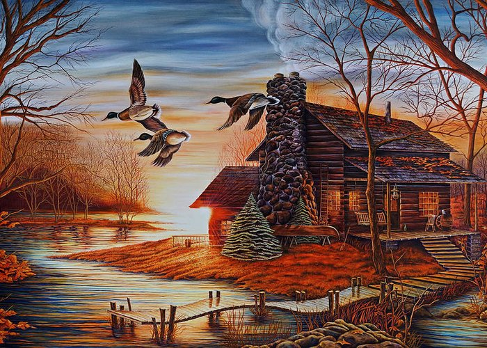 Ducks Greeting Card featuring the painting Winter Getaway by Carmen Del Valle