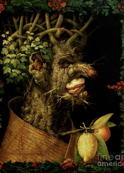 Winter Greeting Card featuring the painting Winter by Giuseppe Arcimboldo