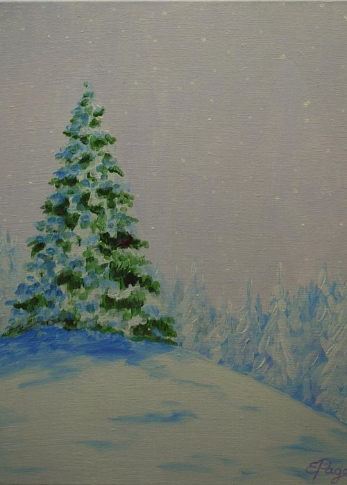 Christmas Tree Greeting Card featuring the painting Winter Glow by Emily Page