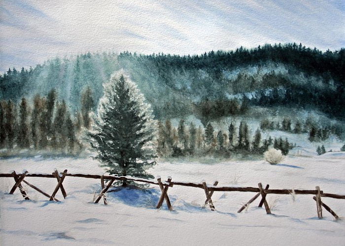 Landscape Greeting Card featuring the painting Winter Glow by Monika Degan