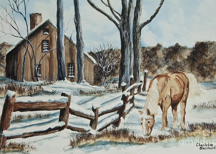 Horse Greeting Card featuring the painting Winter Grazing by Charlotte Blanchard