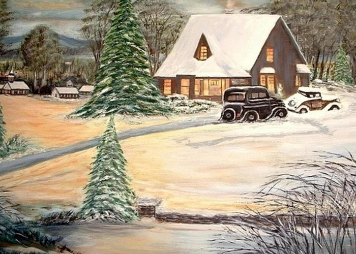 Landscape Home Trees Church Winter Greeting Card featuring the painting Winter Home by Kenneth LePoidevin