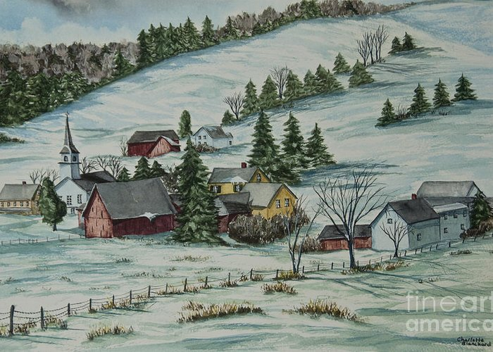 Winter Scene Paintings Greeting Card featuring the painting Winter In East Chatham Vermont by Charlotte Blanchard