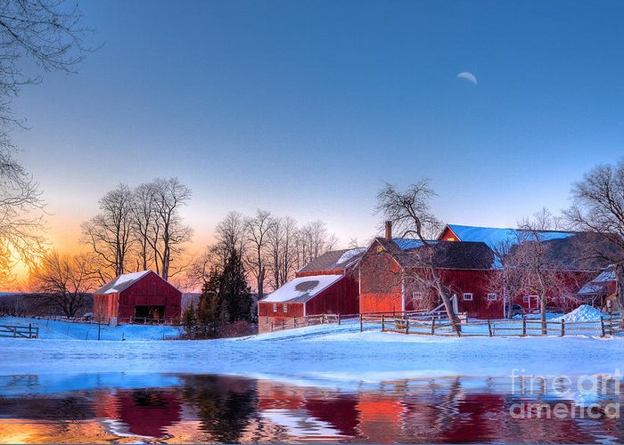 Red Barn Greeting Card featuring the photograph Winter In New England by Michael Petrizzo