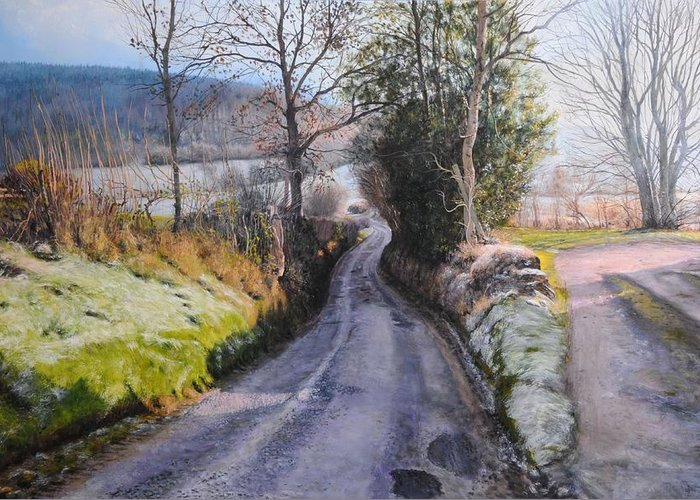 Landscape Greeting Card featuring the painting Winter In North Wales by Harry Robertson