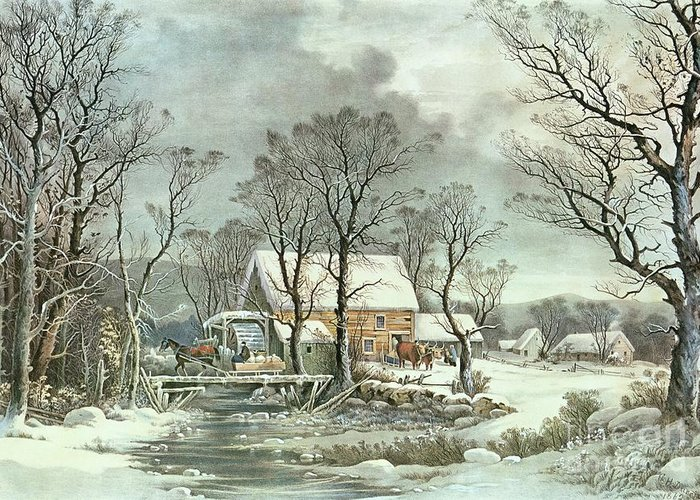 Winter In The Country - The Old Grist Mill Greeting Card featuring the painting Winter In The Country - The Old Grist Mill by Currier and Ives