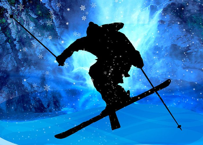 Ski Greeting Card featuring the painting Winter Landscape And Freestyle Skier by Elaine Plesser