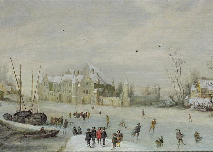 Winter Greeting Card featuring the painting Winter Landscape by Barent Avercamp