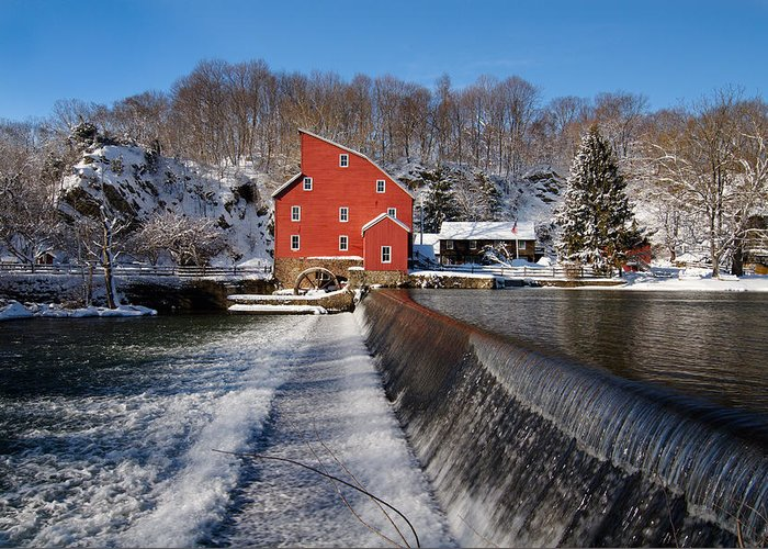 Building Exterior Greeting Card featuring the photograph Winter Landscape With A Red Mill Clinton New Jersey by George Oze