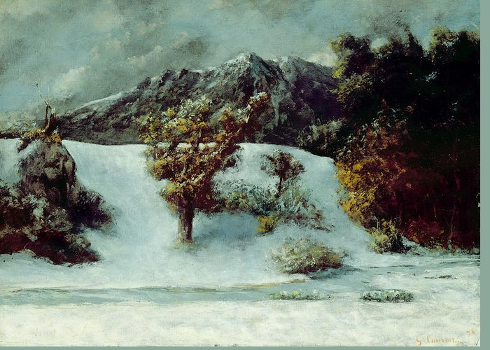 Winter Greeting Card featuring the painting Winter Landscape With The Dents Du Midi by Gustave Courbet