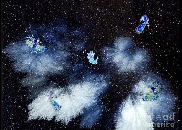 Blue Greeting Card featuring the digital art Winter Leaves And Fairies by Diamante Lavendar
