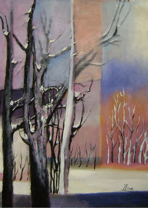 Abstract Greeting Card featuring the painting Winter by Lian Zhen