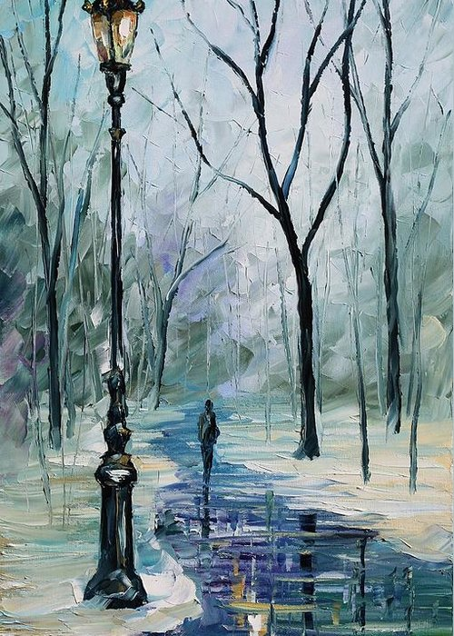 Afremov Greeting Card featuring the painting Winter Light by Leonid Afremov