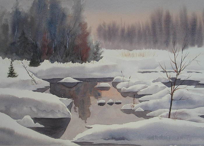 Winter Greeting Card featuring the painting Winter Magic by Debbie Homewood