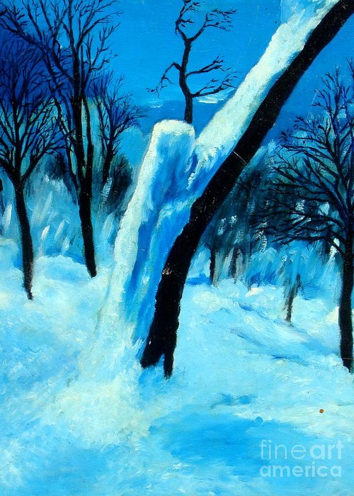 Winter Greeting Card featuring the painting Winter Moonlight And Snow by Patrick Mills