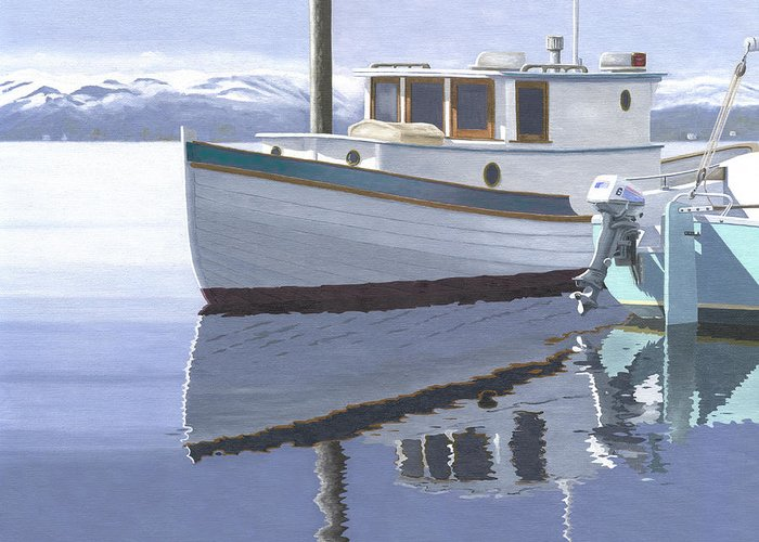 Marine Greeting Card featuring the painting Winter Moorage by Gary Giacomelli