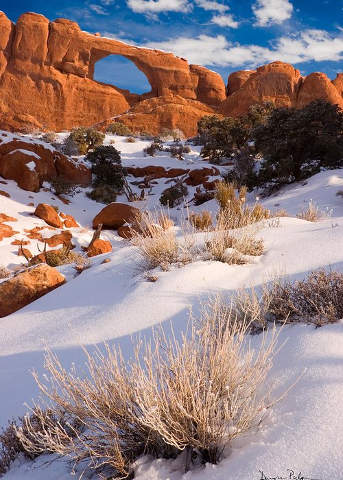 Skyline Arch Greeting Card featuring the photograph Winter Morning At Arches National Park by Utah Images