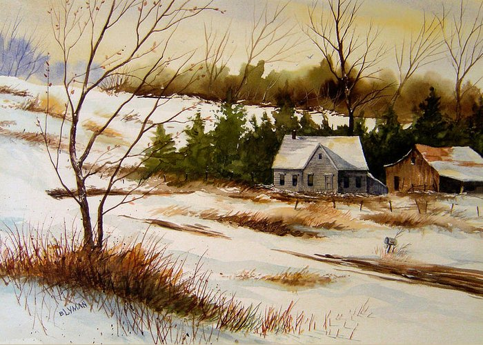 Landscape Greeting Card featuring the painting Winter Morning by Brooke Lyman