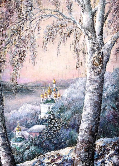 Nature Greeting Card featuring the painting Winter Morning by Maya Bukhina