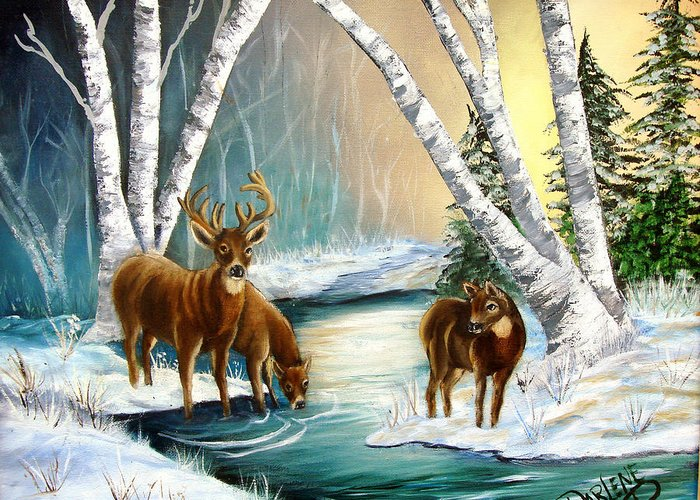 Winter Greeting Card featuring the painting Winter Morning Walk by Darlene Green