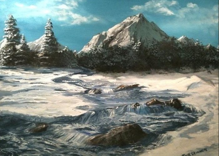 Landscape Greeting Card featuring the painting Winter Mountain Stream by Jack Skinner