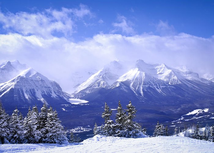 Mountain Greeting Card featuring the photograph Winter Mountains by Elena Elisseeva