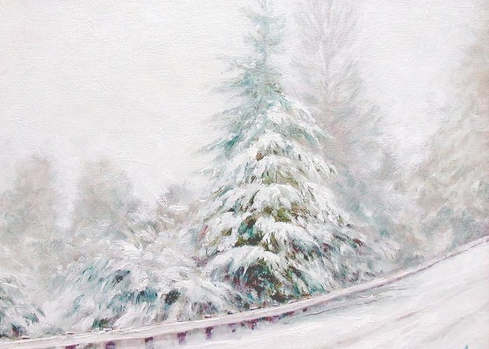 Winter Landscape Greeting Card featuring the painting Winter Of 04 by Jim Gola