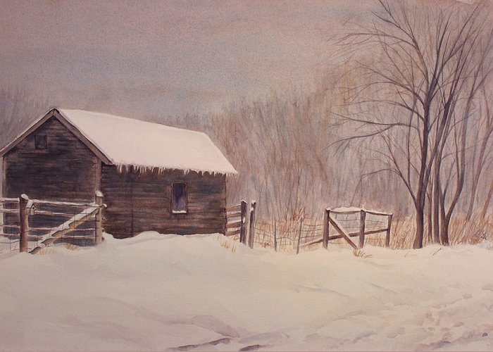 Barn Greeting Card featuring the painting Winter On The Farm by Debbie Homewood