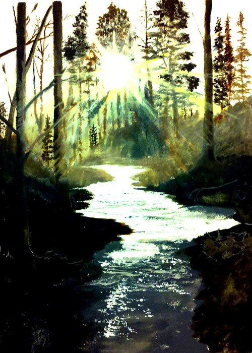 Pictures Canvas Greeting Card featuring the painting Winter Over Almond Creek by Travis Ragan