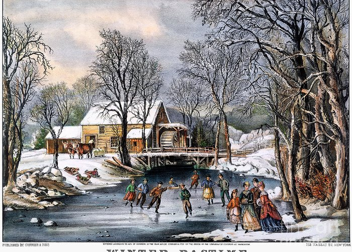 1870 Greeting Card featuring the photograph Winter Pastime, 1870 by Granger
