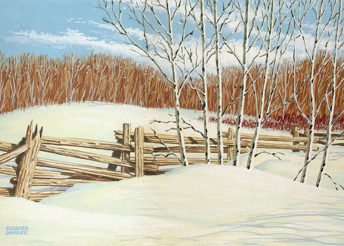 Tree Greeting Card featuring the painting Winter Poplars 2 by Richard De Wolfe