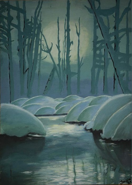 River Greeting Card featuring the painting Winter Quiet by Jacqueline Athmann