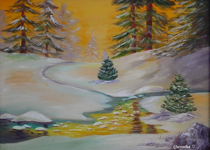 Winter Greeting Card featuring the painting Winter by Quwatha Valentine