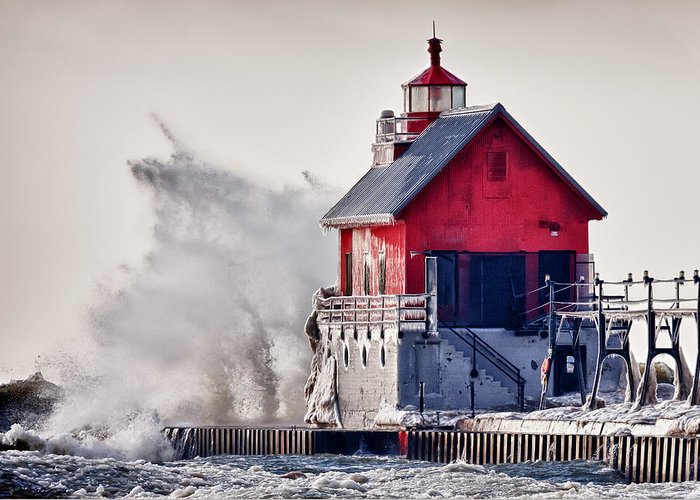 Michigan Greeting Card featuring the photograph Winter Rage by James Marvin Phelps