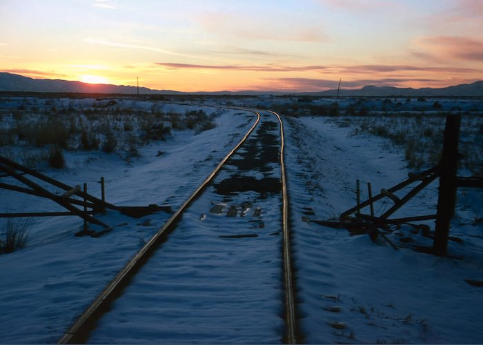 Tracks Greeting Card featuring the photograph Winter Rails 1 by Steve Ohlsen