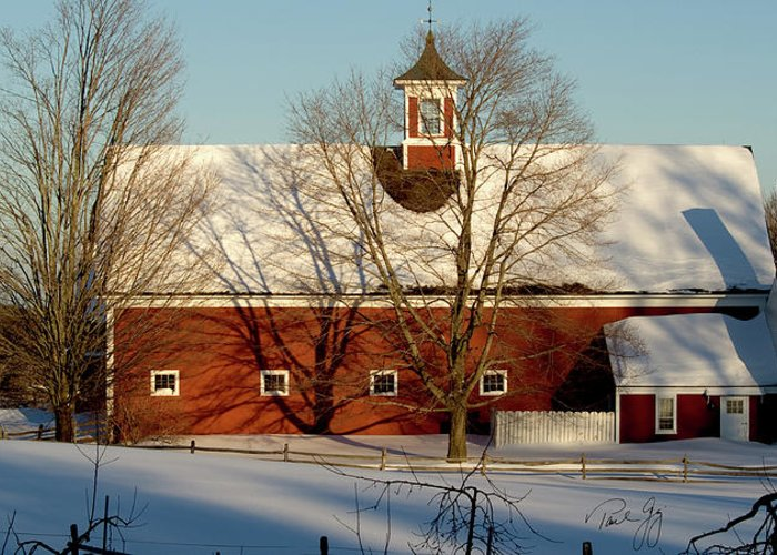 Hollis New Hampshire Greeting Card featuring the photograph Winter Red by Paul Gaj