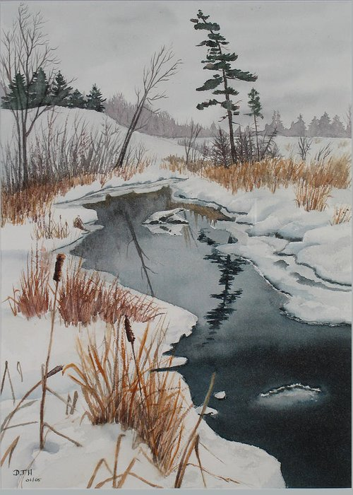 Winter Greeting Card featuring the painting Winter Reflection by Debbie Homewood