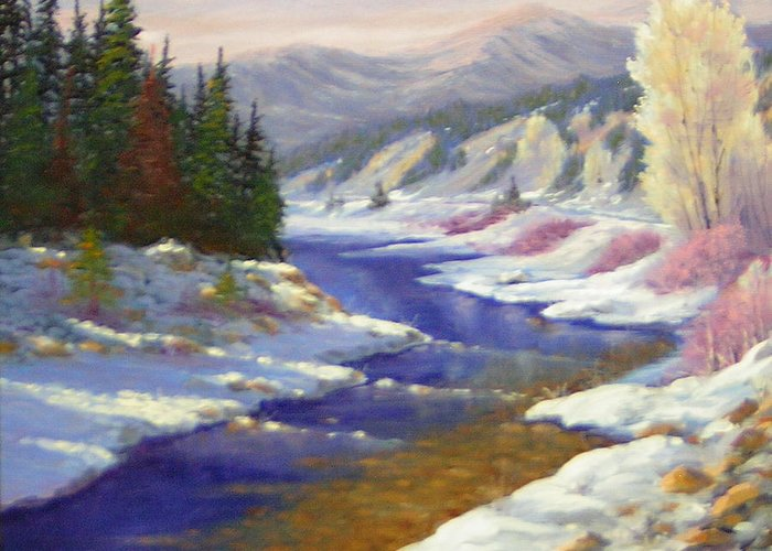 Landscape Greeting Card featuring the painting Winter Revisited 070712-97 by Kenneth Shanika