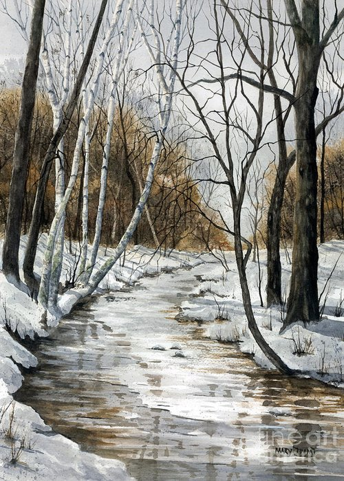 Minnesota Greeting Card featuring the painting Winter River by Mary Tuomi