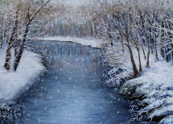 Landscape Greeting Card featuring the painting Winter River by Susan Jenkins