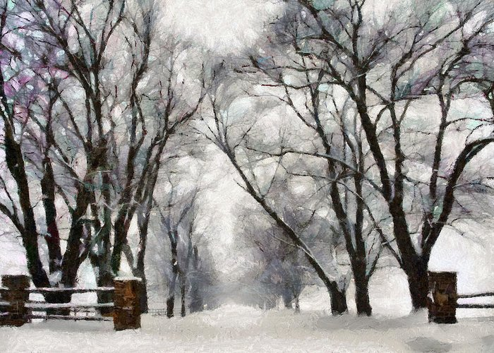 Road Greeting Card featuring the digital art Winter Road by Ronald Bolokofsky