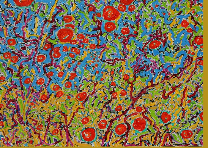 Landscape Greeting Card featuring the painting Winter Rose Hips The Coral Sea Sold by Ray Petersen